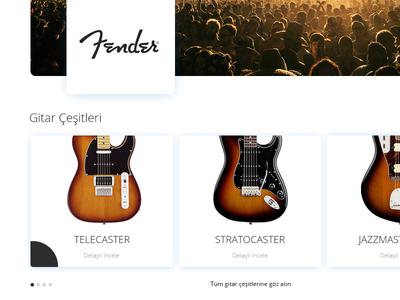 Fender Website - Redesign stratocaster telecaster homepage ui design website guitar fender