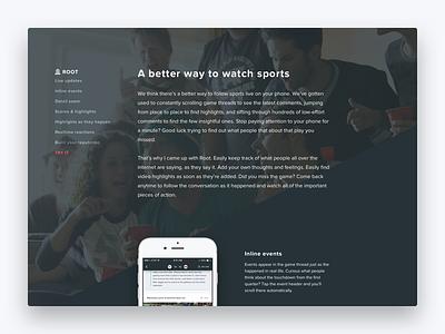 Root landing page mobile design visual design interface design ui design ux design mobile ios ux ui