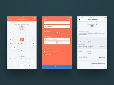 Calendar, advanced search, and invoicing UI mobile design booking invoice search advanced search scheduling calendar ux design ui design ux ui ios