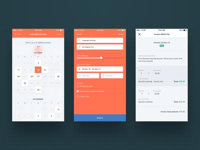 Calendar, advanced search, and invoicing UI
