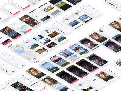 Project screens plan chat video pink app planning events iphone ios ux ui