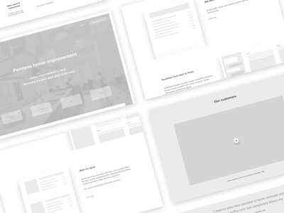 [WIP] Landing page wireframes responsive grayscale greyscale home improvement information architecture web landing page wireframes ia ux ui