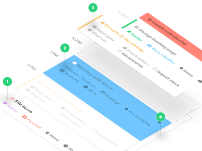 Landing page graphic perspective events task list material design mobile calendar tasks to do productivity ios ux ui