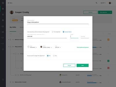 Add new objective modal add form popup dialogue modal task okr admin desktop web ux ui