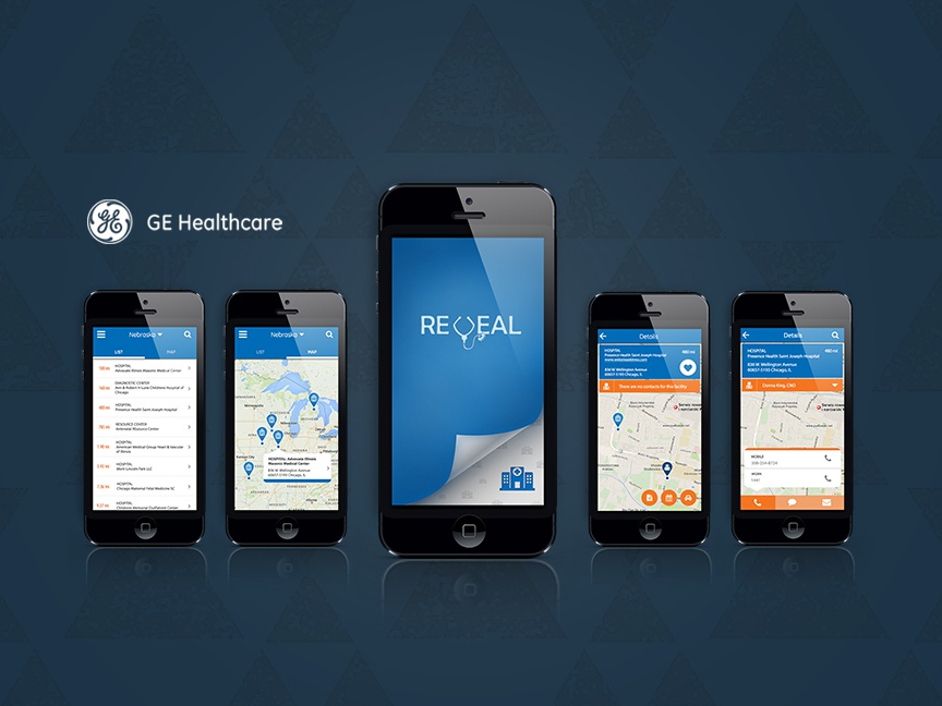 GE Healthcare – iOS app axure illustration icon map graphics photoshop user testing healthcare ui design ux desgin logo ios app