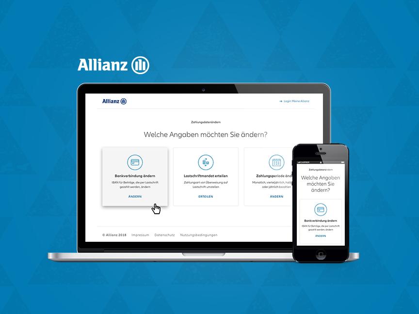 Allianz Deutschland – RWD mockups prototypes wirerames user testing user research ui design ux design self services blue allianz website responsive rwd