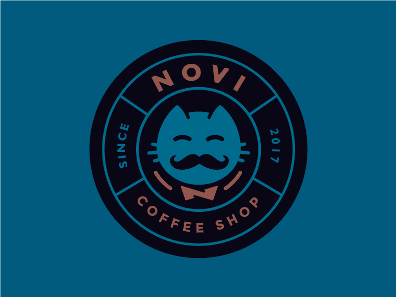 Novi, coffee shop Logo novi brand shop coffee