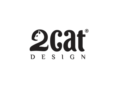 2cat Design animal love hidden concept studio company business smart design lovely icon negative space logo mark identity logotype brand book branding lettering smart typography animal cat