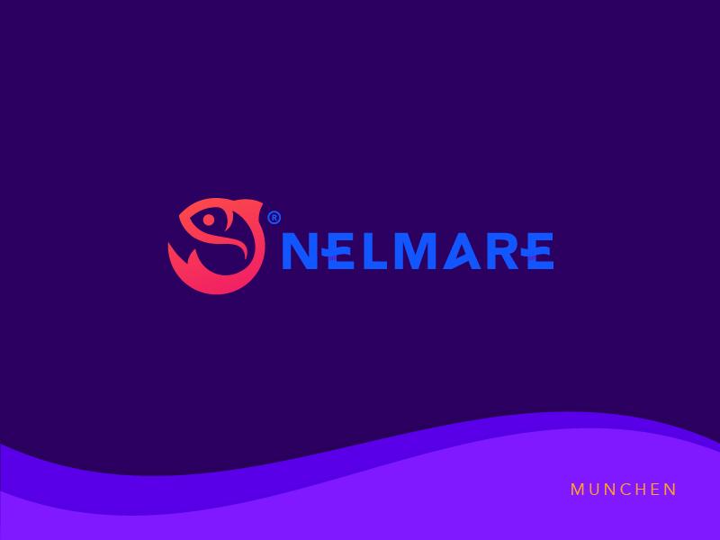 Nelmare ( Fish logo ) fish logo brand branding sea beach summer italy mare sushi china pekin fish restaurant fish food food nelmare