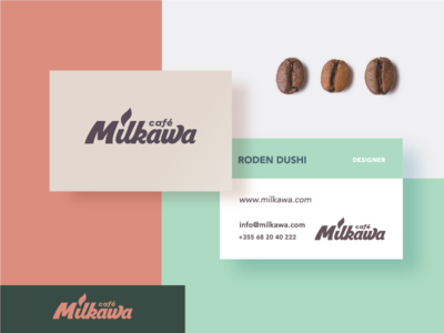 Milkawa business card logo branding albania stationary brand beverage business cards paper card coffee milkawa cafe drink drink coffee shop print design mark businesscard business card identity company