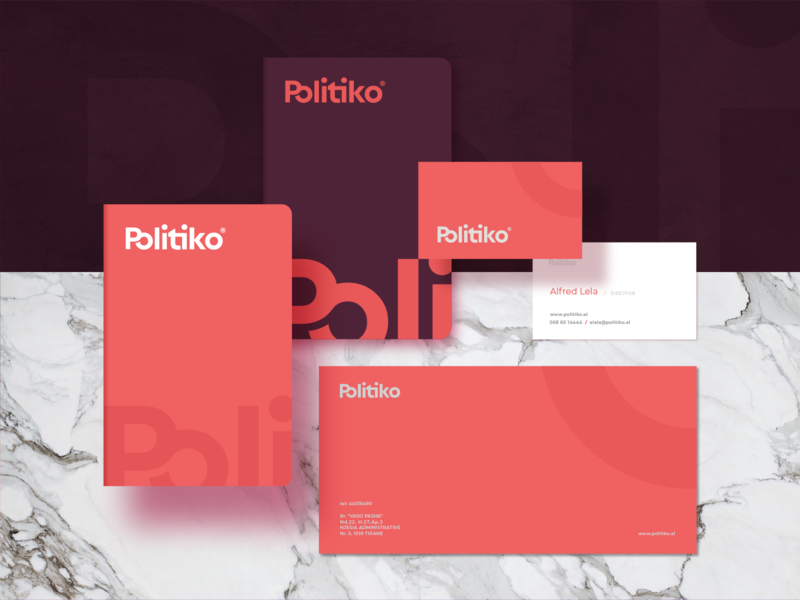 Politiko top agency minimal magazine logo logotype analitycs vibe newsletter program politics minimalistic abstract colors app people leader technology brand book tirana news tv logotype typography products portal albania politiko identity brandbook symbol stationary cards paper print design mark business card envelope notebook