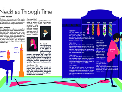 Neckties Through Time Spread publication print design print infographic magazine illustration magazine layout magazine art vector character design cartoon digital art graphic design design adobe illustrator illustration