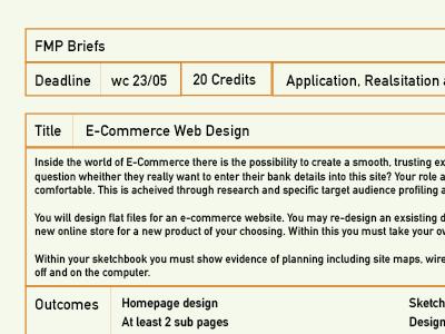 Brief Design orange print layout typography type design brief