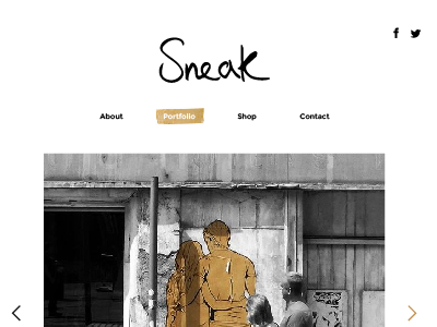 Sneak website Re-vamp web design navigation nav clean sneak minimal design website web