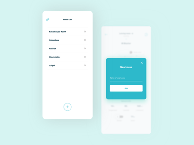 Radar app - new house sticky button floating button add popover modal houses house minimal list minimal white ux ui uiux mobile ui mobile design add new new list mobile app mobile