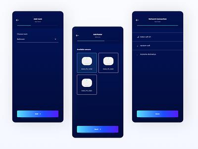 Radar app - add new device process ui dark dropdown signal wifi connection network stepper steps add new new progress bar progressbar progress process application app mobile app mobile