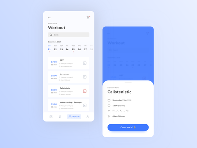 Gym app workouts [concept] sign in list view application application ui app mobile emoji popover modal workouts workout app calendar ui calendar app calendar training app training fitness club fitness app fitness gym app