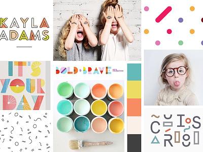 Mood board —Kids Clothing Company fun clothing fashion kids inspiration identity branding mood board