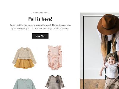 Homepage Merchandising clothing fashion babies kids merchandising merch ecommerce homepage
