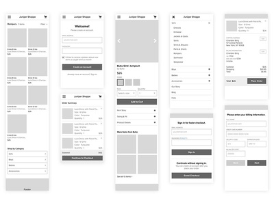 Ecommerce Wireframes for Mobile Web mobile responsive mobile web mweb wireframes ecommerce