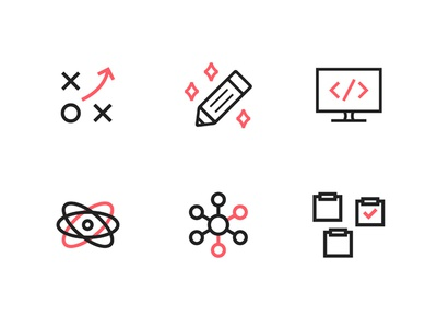 Design Process Icons strategy code research brainstorm development design process process icons