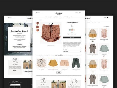 Juniper Website ui ux children kids ecommerce retail fashion identity design brand identity logo