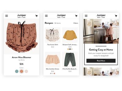 Mobile Web responsive mobile web mobile product page ui ux children kids ecommerce retail fashion
