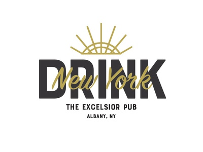 Drink New York restaurant bar pub logotype wordmark logo brand design identity
