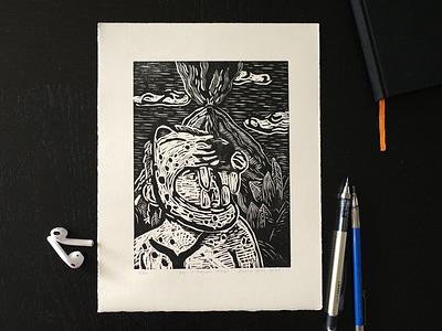 BOY IN JAGUAR MASK Woodcut drawing illustration printmaking jaguar guatemala woodcut