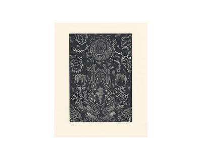 FROG woodcut skull relief pring printmaking environmental frog woodcut