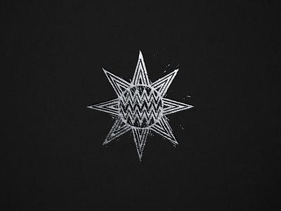 Letterpress burst stars sun illustration woodcut