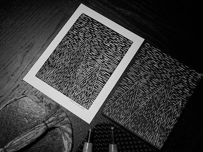 Landscape Woodcut mountains relief print printmaking landscape woodcut