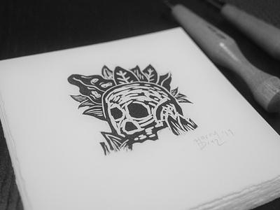 Skull woodcut foliage icon woodcut illustration printmaking skull