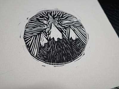 Mountain Sunrise Woodcut linocut print design printmaking woodcut sunrise mountain