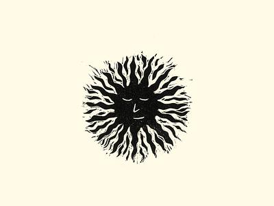 Sun Woodcut Icon digital ui  ux icon sunset printmaking illustration woodcut sun
