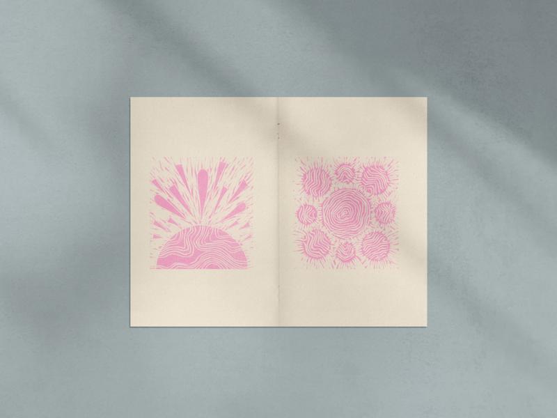 Risograph Zine Spread printmaking self publishing abstract woodcut risograph riso zine