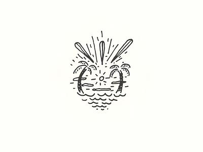 Paradise Palms Letterpress Print illustration clouds sunny print printmaking landscape sun palms letterpress