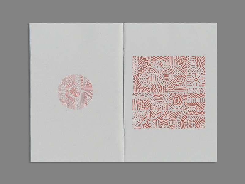 Coast - Zine spread zine drawings book risk risograph red clouds