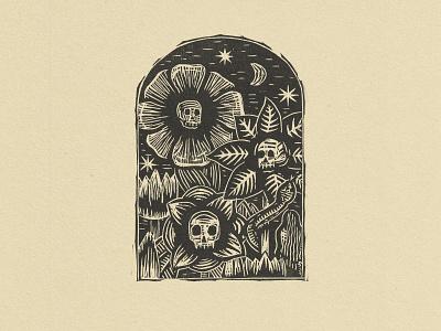 Skulls In Bloom flowers illustration printmaking death landscape flowers skulls