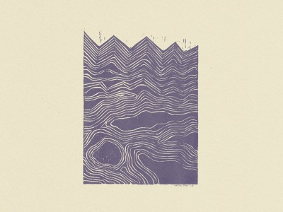 Waves Riso risoprint abstract woodcut risograph riso
