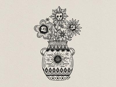 Skull Vase skull tattoo tattoo design skull art flowers illustration tattoo drawing vase skull