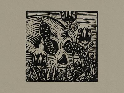 Skull And Snake snake skull illustration printmaking woodcut