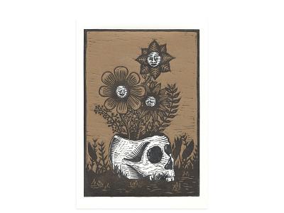 Skull VAse flowers skull printmaking relief print woodcut linolium linocut letterpress print