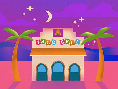 Numero Uno Taco Bell taco night scene drawin illustration