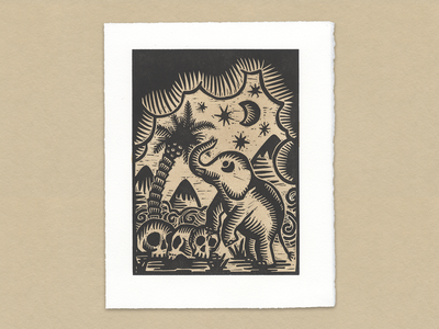 Nature Prevails print illustrations texture palmtree elephant printmaking illustration woodcut