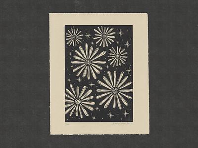 Daisies At Night letterpress zine printmaking illustration drawing print design ill print