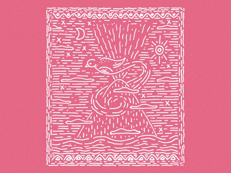 Quetzal drawing illustration quetzal volcano maya guatemala