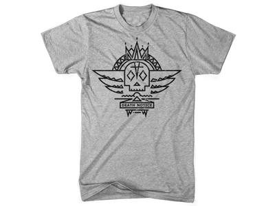 Death Notice illustration digital vector skull t-shirt design apparel