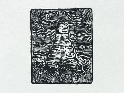 Tikal Woodcut