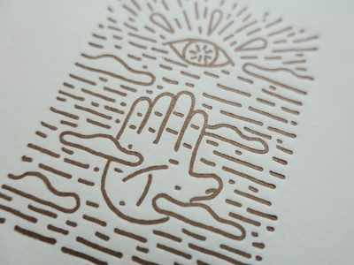 Handscape Letterpress print gold ink drawing printmaking print letterpressed letter letterpress